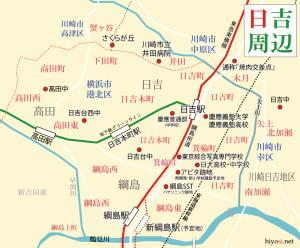 横浜日吉新聞がカバーしたいと考えている「日吉周辺」のエリア図(クリックで拡大)