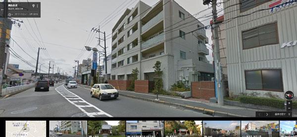 2015年3月の「神奈川日産日吉箕輪店」と「回転寿司ぐるめ亭」付近