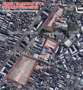 パナソニック跡地とアピタ日吉店の位置図、もしアピタに隣接する野村総研や日本興亜損保の敷地lも含めた開発となると、さらに大規模になる可能性がある