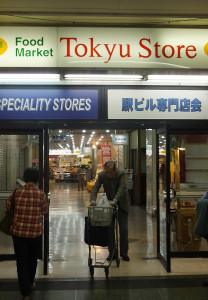 綱島駅構内にある駅ビルの入口、一番奥側に東急ストアがある