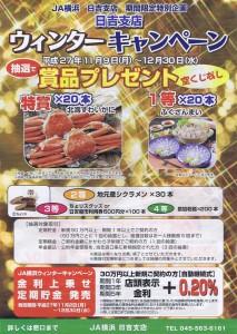 JA日吉支店で11/9(月)から始まる「ウィンターキャンペーン」のチラシ