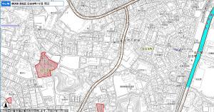 上部の「高田日吉線」と日吉1丁目で分岐し、日吉本町1丁目を縦断する「新吉田日吉線」の計画図(横浜市行政地図情報提供システムより)