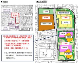 日本医大の再開発区域はちょうどアピタ日吉跡など3つの敷地と同規模(川崎市の発表資料より)