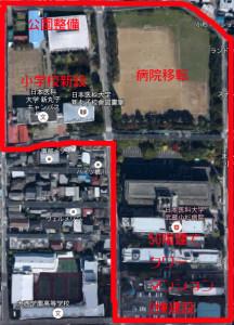 空から見た現在の再開発区域(グーグルマップに本紙で加筆)