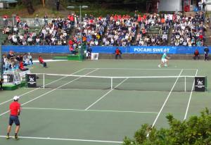 会場となっている蝮谷(まむしだに)のテニスコート
