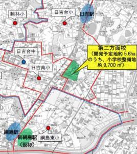 箕輪町に新設される小学校の位置図と近隣小学校の校区図
