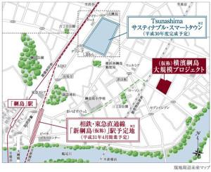 「(仮称)横濱綱島大規模プロジェクト」は綱島SSTに比較的近い場所に建設されている(同プロジェクトホームページより)