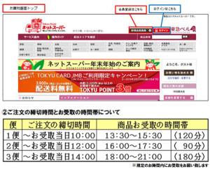 「東急ストアネットスーパー」の画面(上)と綱島駅ロッカーでの受け取り時間帯