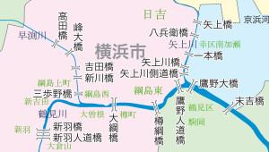 日吉・綱島周辺の架橋状況(国土交通省京浜河川事務所が制作したマップを本紙で加工し位置情報などを付加した)