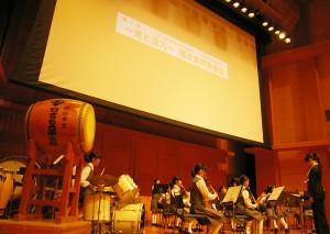 素晴らしい演奏で参加者を楽しませた日吉台西中学校のブラスバンド部
