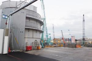 綱島SSTでは米アップル研究所の建設工事が進んでいる(2015年12月撮影)