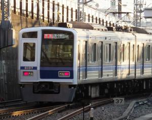西武鉄道の電車も「元町・中華街」まで乗り入れる(日吉駅で撮影)