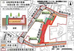 新綱島駅の出入口は3カ所を予定している(横浜市が説明会で公開したスライド資料より)