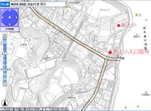 矢上小入口付近の道路計画状況