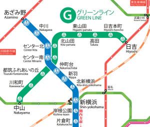 グリーンラインの路線図(横浜市交通局のページより)