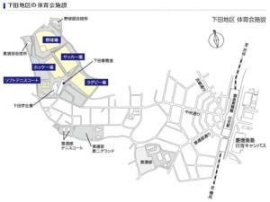 中央通りの先にある日吉本町2丁目と下田町1丁目には野球場やサッカー場など5つの施設がある(慶應義塾体育会のホームページより)