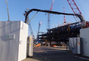 現在建設中の「綱島テクニカル・デベロップメント・センター」(TDC)(2016年3月撮影)