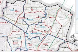 横浜市教育委員会による公立小中学校の校区図、赤い線が小学校区、水色が中学校区(クリックで拡大)