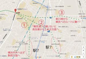 日吉駅からどうやって鶴見駅へ向かうのかの「想像図」(グーグルマップを加工)