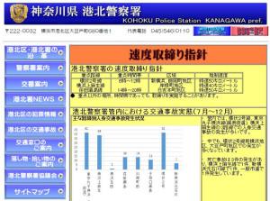 交通事故の抑止に向けて速度の取り締まり指針が示された(港北警察署ホームページ)