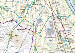 川崎市の「徒歩帰宅支援マップ」の南部エリア版には日吉駅周辺まで掲載されている
