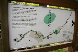 みんなのたから「松の川緑道」。下田町東公園(下田町1)付近にて由来の看板を発見。緑道ができた歴史を改めて感じつつ、自然いっぱいの散策道を歩きながら、会場となる「鳥の広場」を目指します