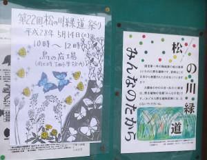 「松の川緑道まつり」を知らせるポスター(左側)