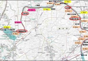 綱島周辺の鶴見川における架橋状況(横浜市の資料より)