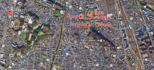 日吉駅と新川崎駅からの再開発地の位置図(グーグルアースを加工して使用)