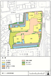 計画地の土地利用図(北加瀬社宅跡地開発計画「条例環境影響評価準備書」より)