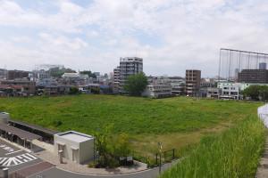 加瀬山から見た5月時点での計画地の様子、左手奥には