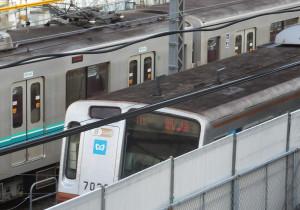 被害に遭った電車(日吉駅付近)