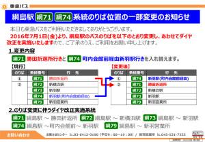 綱島発着の路線でのりば変更やダイヤ改正が行われる(東急バスのニュースリリースより)