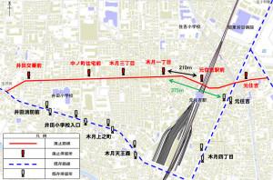 今回廃止となるルート(赤い線)と現在の木月四丁目ルート