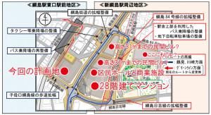 2015年7月に横浜市が発表した資料には高層タワーを想起させるイラストが掲載されている(市が公開した資料上に、赤い●部分は本紙で説明を追加した)
