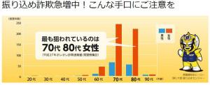 60代以上での被害が多い(神奈川県庁のページより)