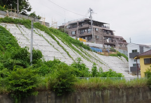 3棟のアパート建設が進む日吉神社近くの斜面、右下の1棟(白い建物)は完成間近
