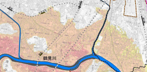 鶴見川が氾濫した場合の被害想定区域、色が濃い場所は3メートル以上の浸水となる可能性がある(公表資料より)