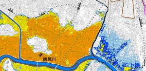 浸水継続時間の予測図、オレンジ色のエリアは168時間、黄色は72時間(公表資料より)※クリックで拡大