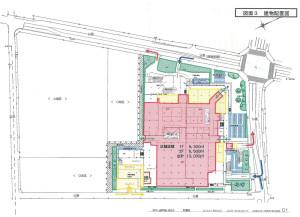 綱島SSTの全体像から見た「アピタ横浜綱島店」1階部分の配置図と図面、矢印は車の出入口。なお、A地区は米アップルの研究所で、Cは全体のマネジメント施設や慶應義塾大の学生寮などに活用、Dが10階建て94戸のマンションに活用