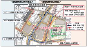 2015年7月に横浜市が発表した資料に立体横断施設の設置を構想している場所を付け加えた