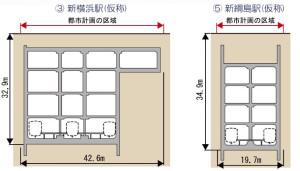 新綱島駅は新横浜駅より若干深い位置に作られる(鉄道・運輸機構のパンフレットより)