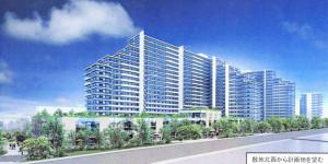 日吉箕輪町計画のマンションと商業施設(下部)のイメージ(野村不動産の配布資料より)