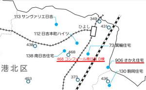 日吉駅周辺には市営住宅や借上型市営住宅(○印)が区内でも多い(横浜市の資料に説明を付加)