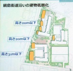 野村不動産は綱島街道に近い建物については低く抑えるとした(読者提供)