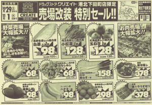 売場改装特別セールのチラシは食品スーパーのような内容