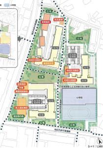 「日吉箕輪町計画(仮称)」における2016年8月時点での新小学校の配置予定図(第31回横浜市都市美対策審議会景観審査部会の資料より)