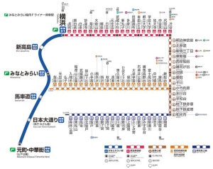 みなとみらい線の元町・中華街は始発駅のため座れるが、折り返し乗車には正しい定期券・乗車券が必要となる(同社ホームページ内の路線図より)