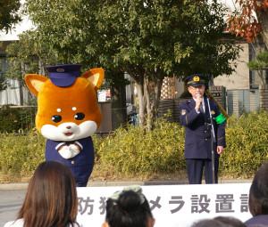 港北区内の治安動向について説明する港北警察・陶山(すやま)署長。犯罪発生件数の減少は地域の防犯の取り組みによるところが大きいと地域住民への感謝の弁を述べる