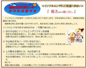 下田地域ケアプラザからのお知らせ(2016年12月版・裏面)~インフルエンザについて